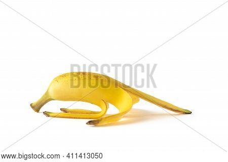 Peel Banana Isolated On White Background, Yellow Fresh Peeled Banana Fruit On White Background