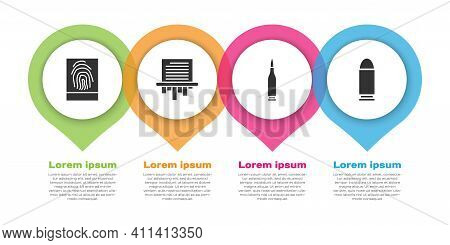 Set Fingerprint, Paper Shredder, Bullet And Bullet. Business Infographic Template. Vector