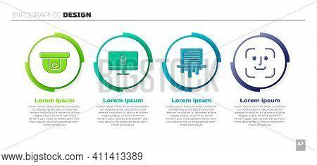 Set Motion Sensor, Lock On Computer Monitor, Paper Shredder And Face Recognition. Business Infograph