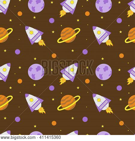 Space Rocket And Planets With Stars On A Brown Background. Space Exploration. Travel To Space. Seaml