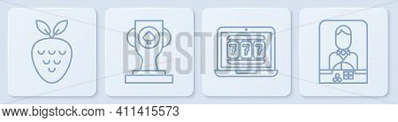 Set Line Casino Slot Machine With Strawberry, Laptop And Slot Machine, Casino Poker Trophy Cup And C