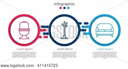Set Line Toilet Bowl, Coat Stand And Sofa. Business Infographic Template. Vector