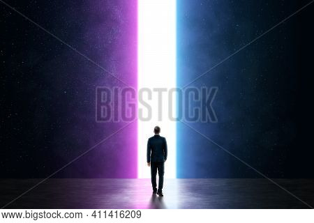 Silhouette Of A Man In A Business Suit In Front Of A Glowing Neon Portal, Futuristic Background, Abs