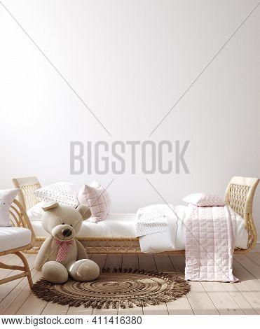 Mockup Frame In Children Bedroom With Wicker Furniture, Coastal Boho Style, 3d Illustration