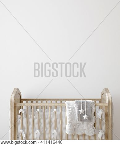 Wall Mock Up In Nursery Interior Background, 3d Illustration