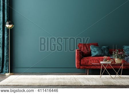 Home Interior With Red Sofa, Table And Decor In Green Living Room, 3d Illustration