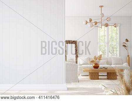 Coastal Boho Living Room Interior Background, Wall Mockup, 3d Illustration