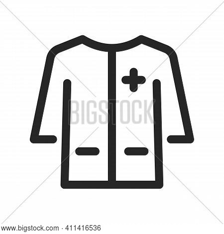 Medical Gown Icon For Doctors And First Aid Workers And Patients. Long Sleeve, Pockets. Vector Thin