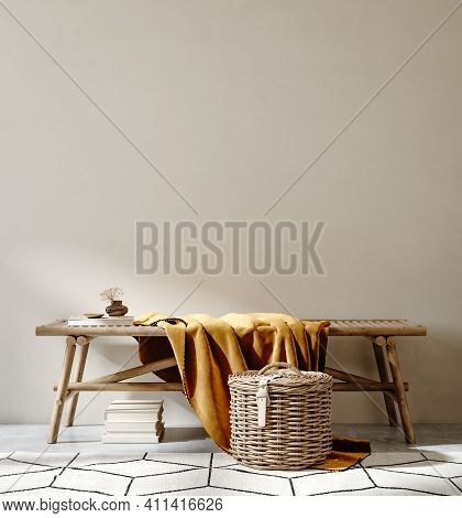 Bench With Decor Close Up In Home Interior Background, Wall Mock Up, 3d Illustration