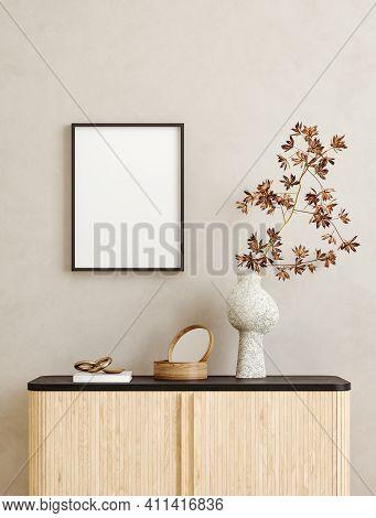 Mock Up Frame In Home Interior Background, Scandi-boho Style, 3d Illustration