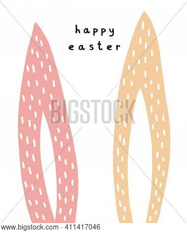 Happy Easter. Simple Easter Holidays Vector Card. Cute Dusty Pink And Cream Long Rabbit Ears Isolate