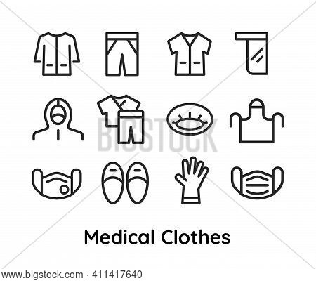 Medical Clothes Icons Set For Doctors, Nurses. Vector Thin Line Linear Illustration. Editable Outlin