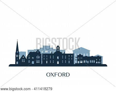 Oxford, Mississippi Skyline, Monochrome Silhouette. Vector Illustration.