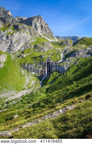 Waterfall In Vanoise National Park Alpine Valley, Savoie, French Alps