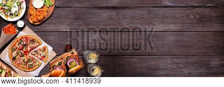 Healthy Plant Based Fast Food Corner Border. Top View On A Dark Wood Banner Background. Table Scene