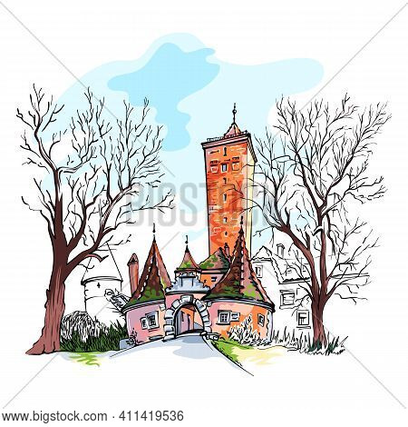 Vector Color Sketch Of Western Town Gate And Tower Burgturm And Stadttor In Medieval Old Town Of Rot