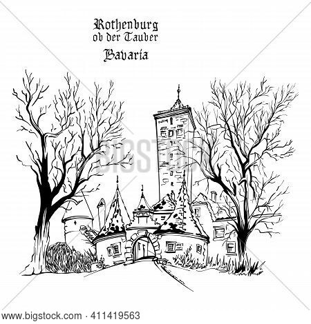 Vector Black And White Sketch Of Western Town Gate And Tower Burgturm And Stadttor In Medieval Old T