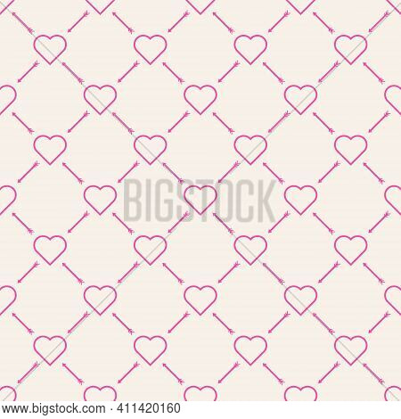 Seamless Background Pattern. Pink Outline, Heart And Arrow Shape. Arrange In A 45 Degree Oblique Zig