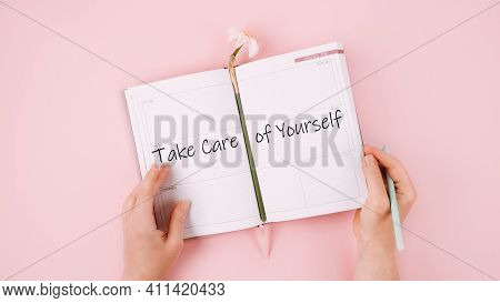 Self Care, Take Care Of Yourself, Wellbeing Routine, Self-care Activities Concept With Open Notebook