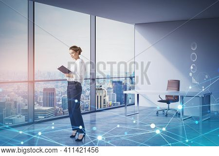 Attractive Businesswoman In Formal Wear Standing In Panoramic New York City View Office And Writing