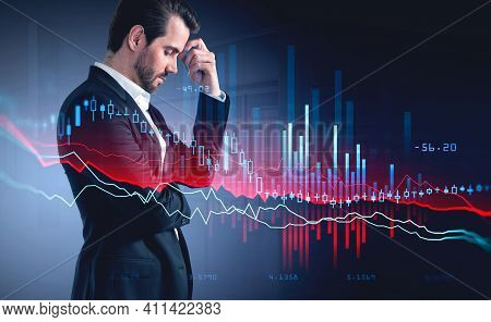 Digital Graph Falling, Office Manager In Suit Standing Pensive, Business Manager In Thoughts. Stock