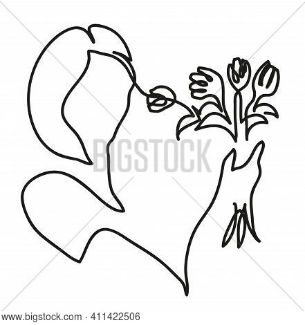 One Line Drawing Of  Woman Holding Bouquet Of Tulips In Her Hands. One Continuous Line Drawing Of  W