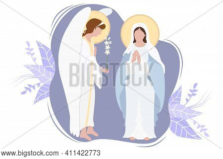 Annunciation To The Blessed Virgin Mary. Virgin Mary, Mother Of Jesus Christ In Blue Maforia And Arc