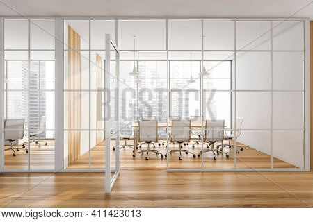Wooden Conference Room With White Armchairs And Wooden Table. Office Minimalist Interior Behind Glas