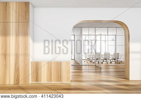 Mockup Empty Wall In Office Hall Arch And Corridor, Wooden Room With White Armchairs And Table. Offi