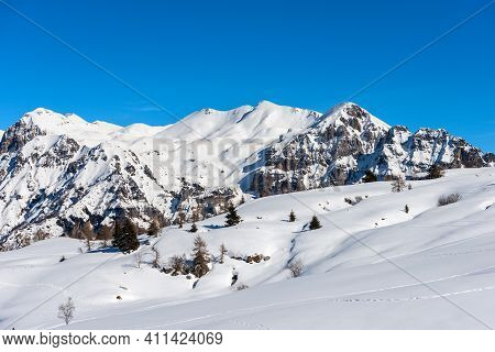 Closeup Of The Snowcapped Mountains In Winter Of The Monte Carega, Called The Small Dolomites From T