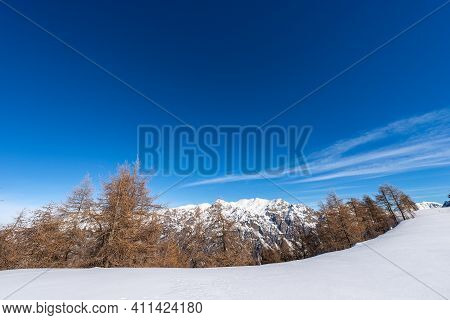 Mountain Range Of The Monte Carega In Winter With Snow, Called The Small Dolomites Seen From The Alt