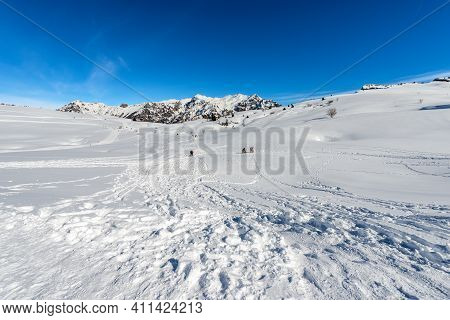 Mountain Range Of The Monte Carega In Winter With Snow, Called The Small Dolomites And The Altopiano