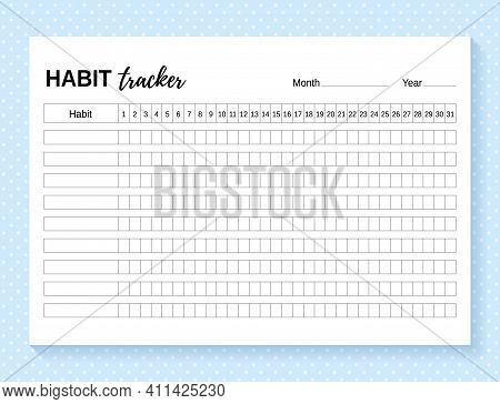 Habit Tracker. Daily Template Habit Diary For Month. Vector Illustration. Journal Planner With Bulle