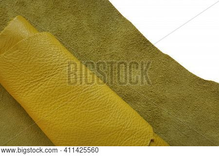 Genuine Leather Piece Isolated On White Background.yellow Genuine Leather Roll.real Leather Surface.