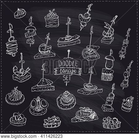 Chalk hand drawn graphic doodle illustration with canapes and sandwiches, rasterized version