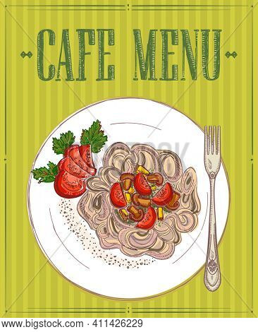 Cafe menu with vegetarian buckwheat pasta, gluten free diet dish, hand drawn graphic sketch illustration, rasterized version