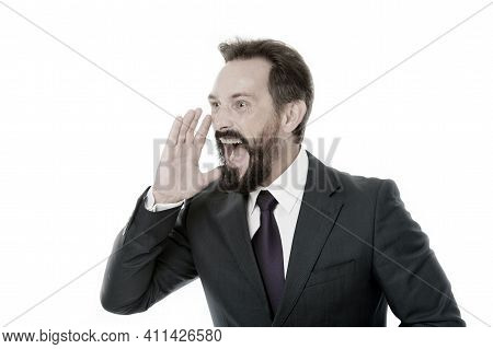 Overwhelming Rumors. Businessman Classic Formal Suit Shouting Loudly Overwhelming News. Charismatic