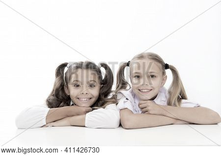 Beautiful And Smart. School Girls In Pigtails. Cute Little Girls Smiling Isolated On White. Happy Sm