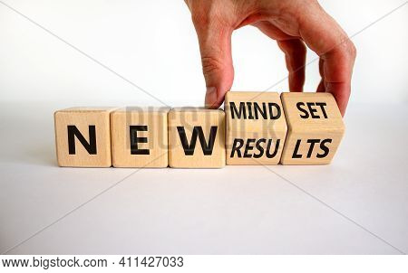 New Mindset And Results Symbol. Businessman Turns Wooden Cubes And Changes Words 'new Mindset' To 'n
