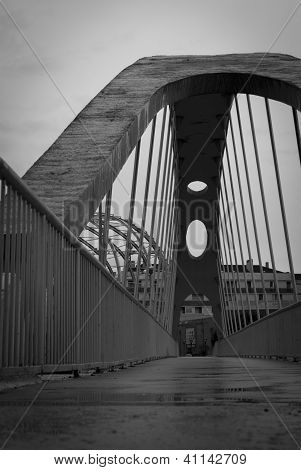 LOGRONO, SPAIN - JANUARY 18: Bridge to Berceo mall on January 18th 2013