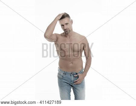 Hair Removal. Male Natural Beauty. Man Attractive Well Groomed Facial Hair. Barber Shop Concept. Man