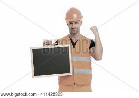 Advertisement Concept. Builder Enjoy Success. Strong Handsome Builder Hold Blackboard. Successful En