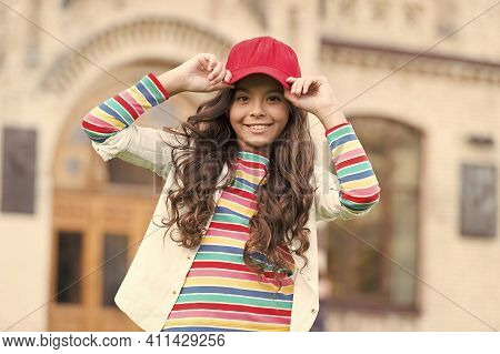 Dress Like Real Hipster. Happy Child Enjoy Hipster Style. Little Hipster Wear Baseball Cap Outdoors.