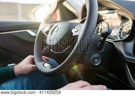 Self Driving Or Autopilot Mode In Skoda Auto Showing Future Of Electric Cars, March 2021, Prague, Cz
