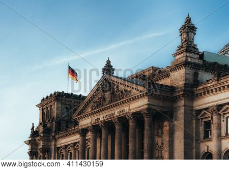 View Towards Reichstag, German Parliament Building In The Government District In Berlin.
