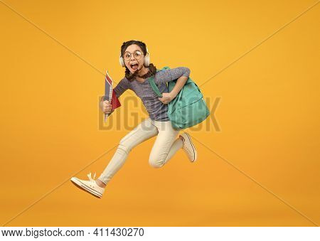 Inspired Motivated Schoolgirl. Stylish Schoolgirl. Girl Carry Backpack. Schoolgirl Daily Life. Knowl