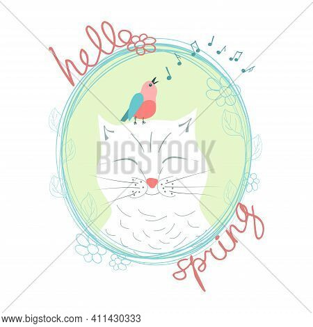 White Happy Cat With Closed Eyes, Pink Singing Bird With Blue Wings, Music Signs And Handwritten Ins