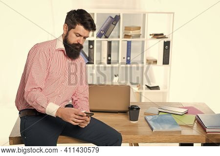 Mobile Solution For Business. Businessman Text Sms. Bearded Man Work In Business Office. Trading Bus