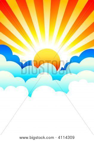 Sun Rising In Clouds