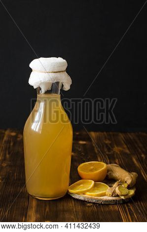 Ginger Ale Is A Homemade Organic Probiotic Drink With Lemon And Ginger Or Kombucha, In A Bottle. Dar